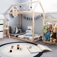 Ручной работы Монтессори пол кровать рамки натуральный деревянный дом, подходит для малышей кровать матрас для кроватки новорожденного, де