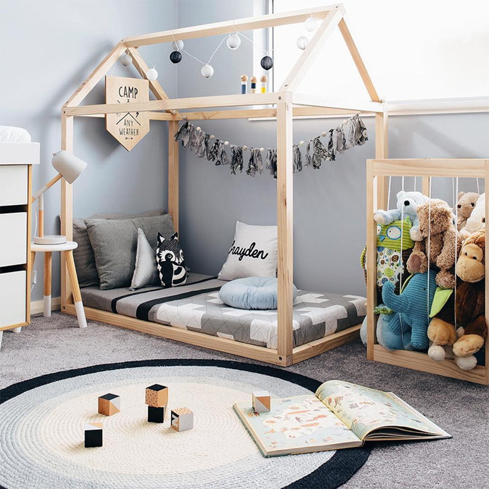 Handmade Montessori Floor Bed Frame Natural Wooden House, Fit Toddlers Bed Baby Crib Mattress, Kids Boys Girls Room Decorations