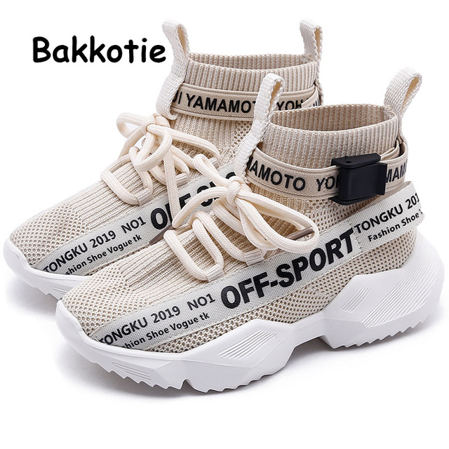Bakkotie 2019 Kids New High Sneakers Boys Autumn Black Soft Casual Shoes Baby Girls Fashion Breathable Slip On Sports Shoes
