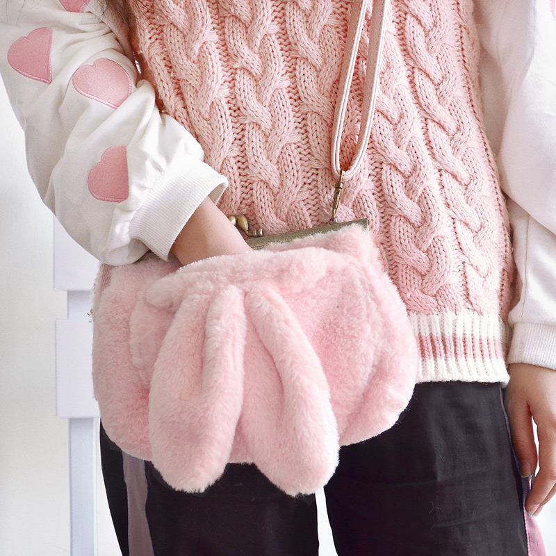 Princess sweet lolita bag Original hair bag girl heart warm adorable hand rabbit ears pocket gold and small square bag CC040