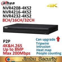 Dahua 4K Nvr NVR4208 4KS2 8CH NVR4216 4KS2 16CH NVR4232 4KS2 32CH H.265/H.264 Tot 8MP Resolutie Voor Preview En afspelen
