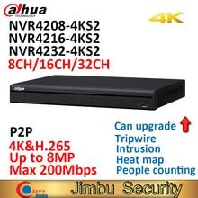 Dahua 4k nvr NVR4208 4KS2 8ch NVR4216 4KS2 16ch NVR4232 4KS2 32ch h.265/h.264 até 8mp resolução para visualização e reprodução