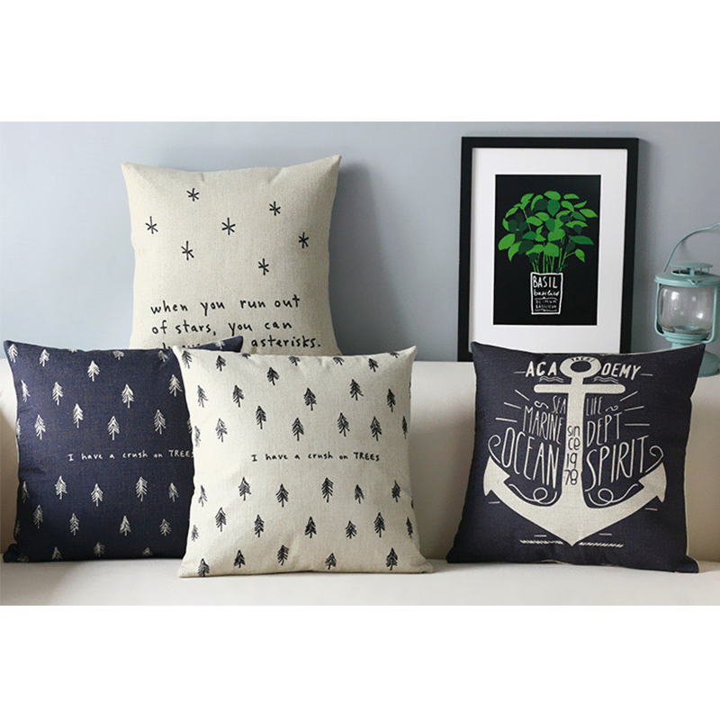 Black and white Linen Cotton Cushion Cover Creative Scandinavian style For Sofas Contracted personality Pillows Decorate