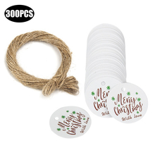 300PCS handmade round merry christmas wich love for party decoration hang paper tags gifts packging labels white wrap DIY