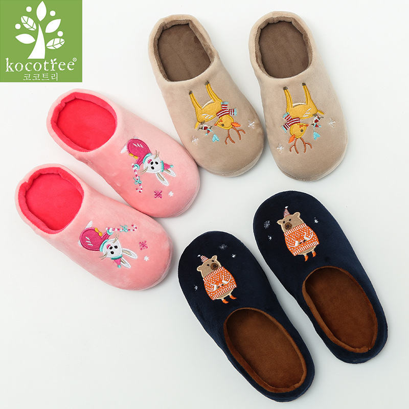 Kocotree Children Warm Winter Cotton Slippers Kids Cartoon Chicken Home Furnishing Shoes Baby Boys Girls Indoor Antiskid Slipper lovely animal unicom little twin stars gemini unicorn cartoon home furnishing slipper indoor mute ma am slipper kawai toy gift