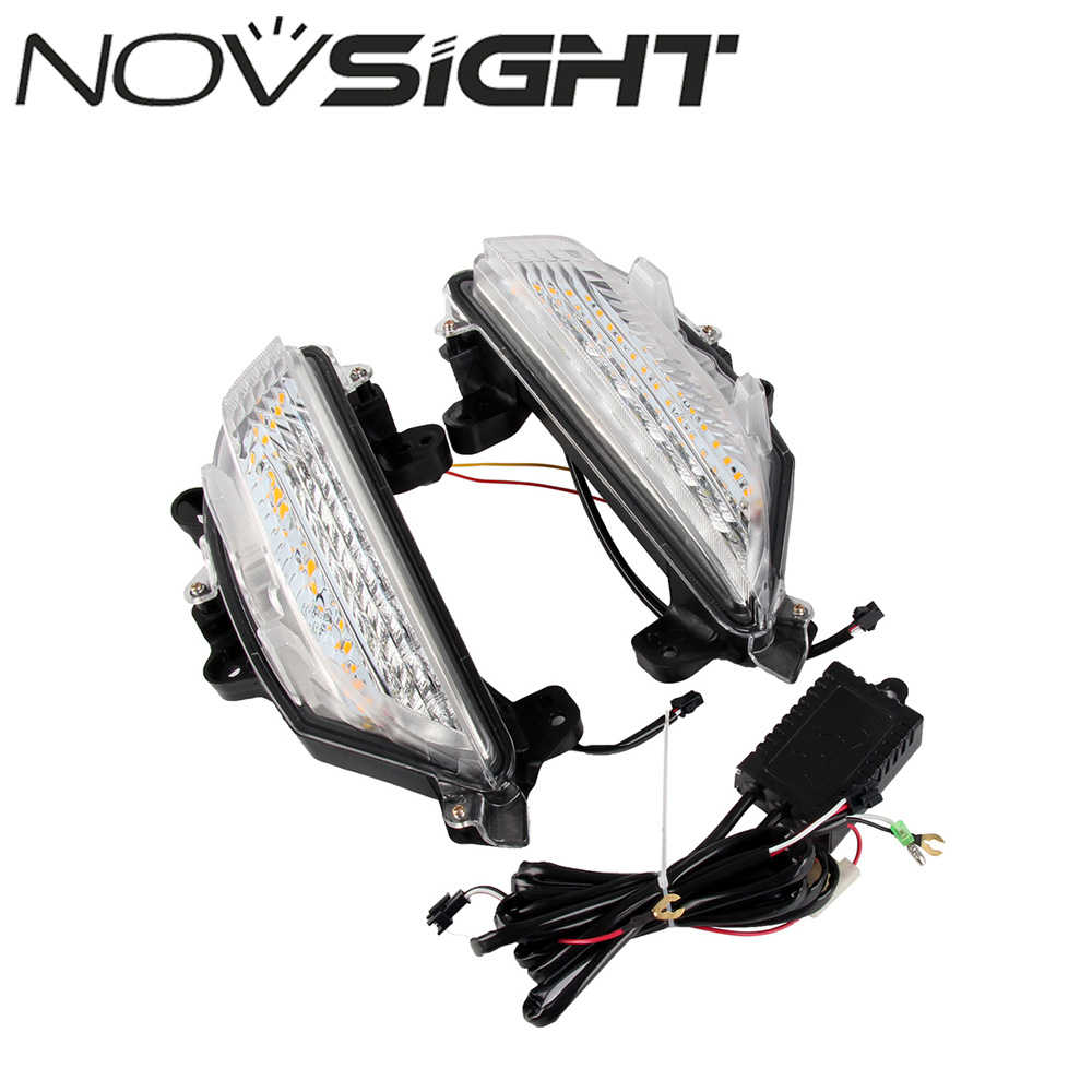 NOVSIGHT Car LED Daytime Running Lights DRL Driving Yellow Turn Signal Fit For Mazda3 Axela 2013-2016 novsight led drl driving daytime running lights turn signal lamp white yellow blue for renault koleos 11 15 free shipping