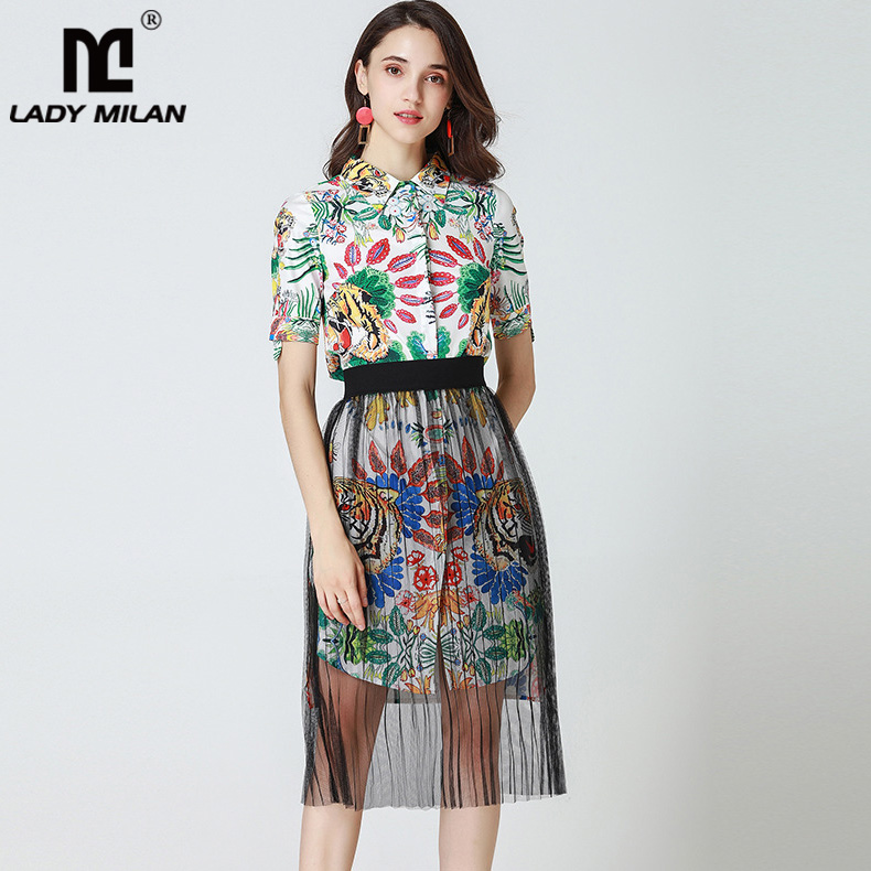 New Arrival Womens Turn Down Collar Short Sleeves Printed Dresses with Black Skirts Fashion Runway Twinsets Two Piece Dresses
