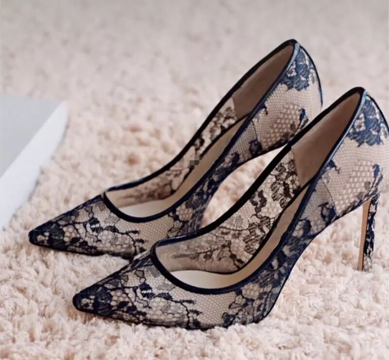 Pizzo In Autunno A Nero Pompe Scarpe Mujer Delle Punta Alti Marca Tacchi 2019 Lusso Signore Donne Di Sexy Ricamato Zapatos 6PYwX