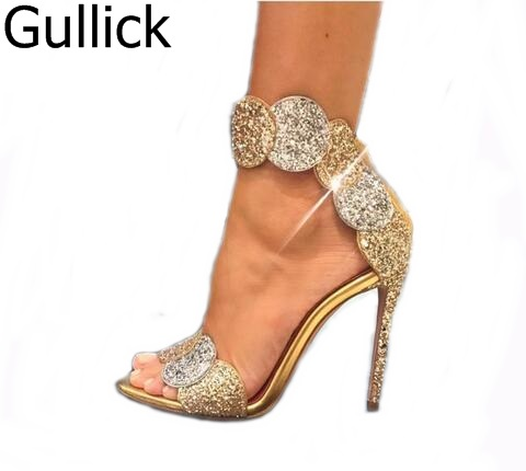 b18f03ea1d33 Luxury Gold Bling Crystal Embellished High Heel Pumps Summer Sexy Open Toe  Woman Back Zipper Ankle Strap Gladiator Sandals