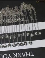 925 sterling silver zircon alphabet letter A B C D E F G H E J K L M N O P Q R S T W V U X Y Z pendant necklace monaco jewelry