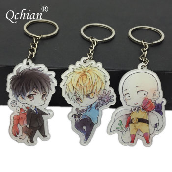 Hot Anime One Punch Man Keychian for Men Saitama Genos tatsumaki cute Key Chains Ring Holder