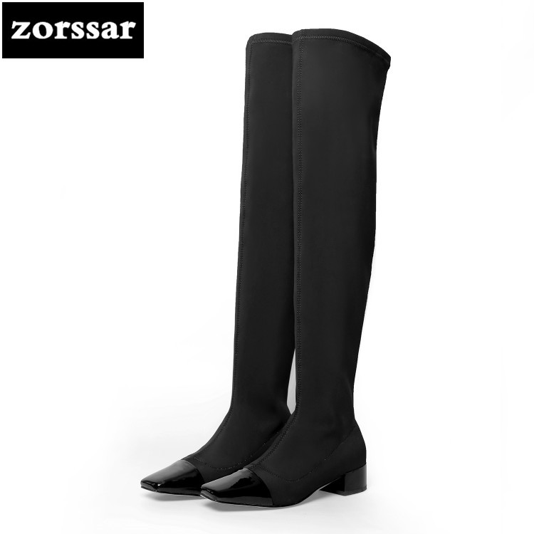 все цены на {Zorssar} 2018 New casual flat Over the knee Stretch boots Women socks boots Autumn winter shoes warm zapatos de mujer botas