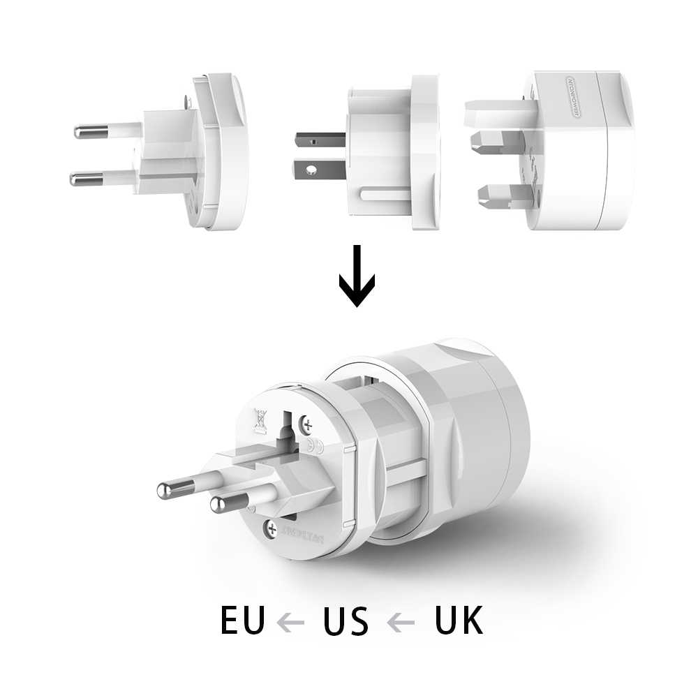 NTONPOWER Universal Travel ADAPTER ปลั๊กไฟฟ้าแบบพกพา Power Socket Outlet Converter สำหรับ EU/US/AU/ UK