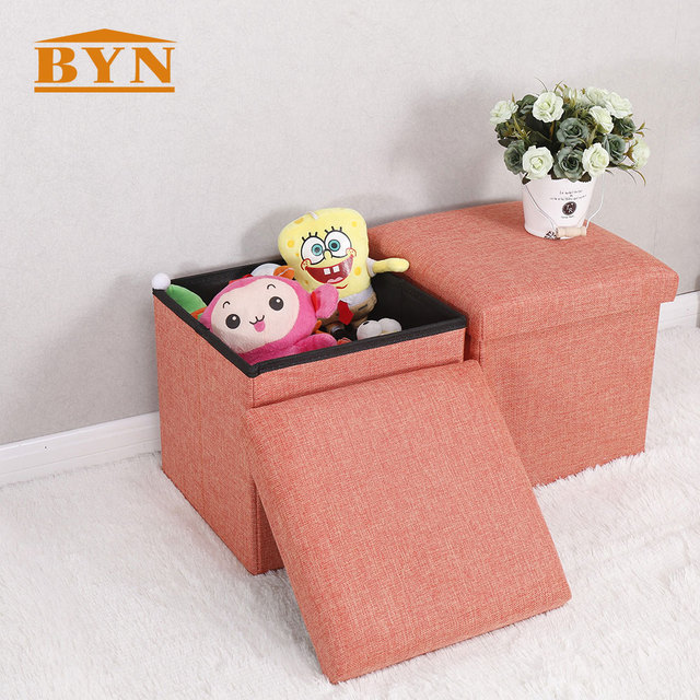 BYN Foldable Cube Storage Stool Living Room Faux Leather Fabric Seat Box  Detachable Bathroom Baby Toys