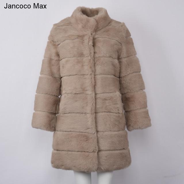 Jancoco Max 2019 New Winter Real Rabbit Fur Jacket Warm Soft Long Fur Coat Women Christmas Dress S1675