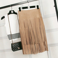 Popular New Tassel Skirts,High end custom Genuine leather skirts Women's skirts long skirts Free shipping FC1528