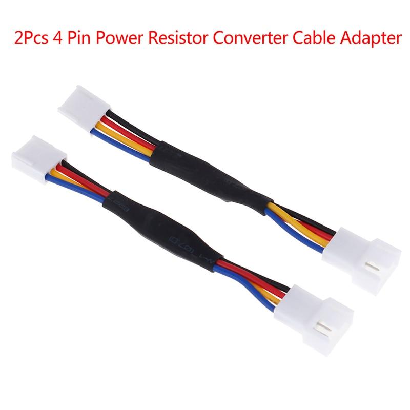 2* 4Pin Fan Noise Reduction Deceleration Line Resistor Cable For PC Cooling Fan