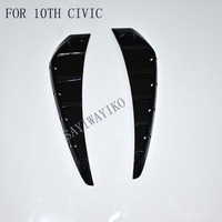 CAR STYLING 2 x Side Body Marker Fender Air Wing Vent Trims Carbon Fiber Trim Pattern FIT For 2016 2017 2018 10th Honda Civic