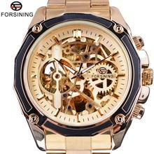 Forsining Golden Steampunk Open Work Inside Luxury Design Skeleton Mechanical Movement Mens Automatic Watches Top Brand Luxurry