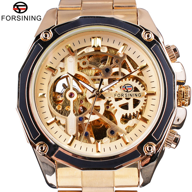 Forsining Gouden Steampunk Open Werk Binnenkant Luxe Ontwerp Skelet Mechanische Beweging Heren Automatische Horloges Top Merk Luxurry