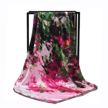 New Arrival Fashion Women soft satin brand scarf / painting Printed quare silk scarves 90cm Gifts Wholesale