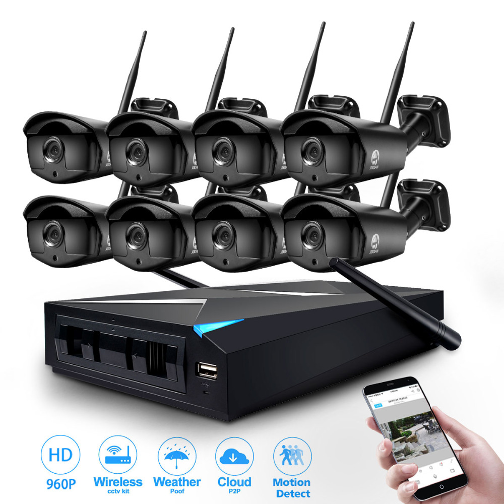 JOOAN 8CH CCTV System Wireless 960P NVR 8PCS 1.3MP IR Outdoor P2P Wifi IP Security Camera System Surveillance Kit