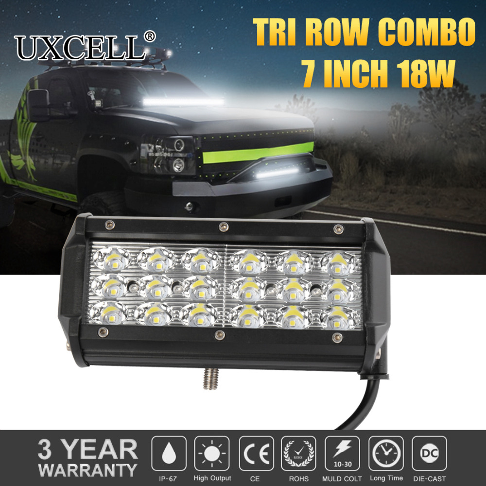 UXCELL DC 10~30V(fits 12V 24V vehicles) 7 18W Three Row LED Work Light Bar 36 3030 SMD Spot Off Road Boat SUV For Jeep 4x4