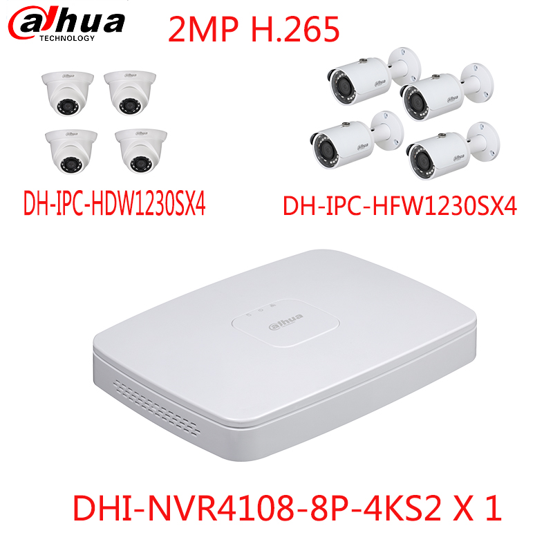 dahua original english internation 1080p network video recorder kit NVR4108-8P-4KS2 8ch 8ports 8poe H.265 and 8PCS 2MP ip camera new hot sell dahua 8ch nvr h 264 1080p network video recorder nvr4108 8p smart 1u support english firmware and onvif