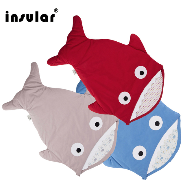 Insular sac de couchage pour bébé, couverture de requin, mignon, dessin animé, sac de couchage dhiver pour bébé, selle chaude, nouveauté