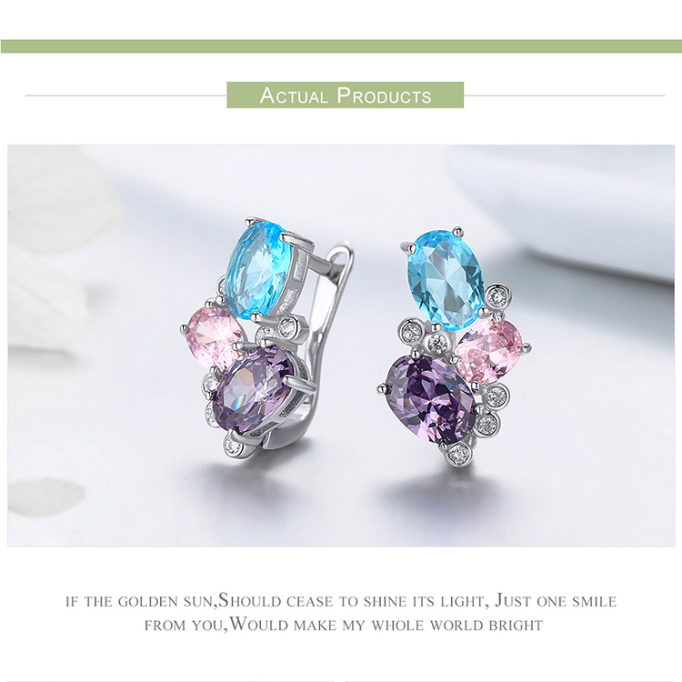 HTB13oivN7voK1RjSZFwq6AiCFXaN BAMOER Classic 100% 925 Sterling Silver Colorful Zircon Geometric Earrings Simple Stud Earrings for Women Silver Jewelry SCE579