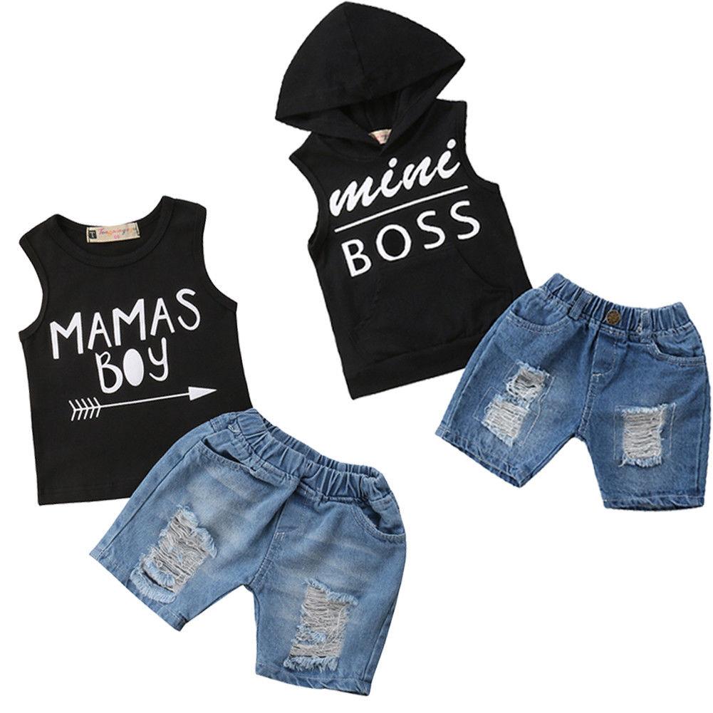 Toddler Baby Boys Letter Print Vest Blouse+Hole Denim Jean Shorts Outfits