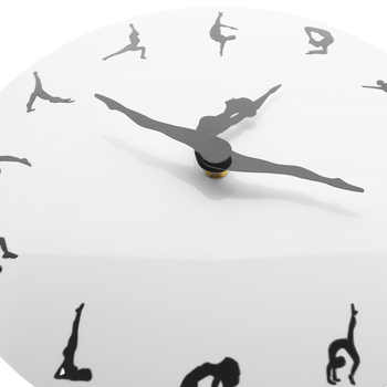 Yoga Postures Wall Clock GYM Fitness Flexible Girl Silent Modern Clock Watch Home Decor Meditation Decor Yoga Studio Relax Gift