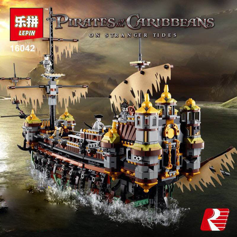 MOC Lepine New Pirate Ship Series The Slient Mary Set Children Educational Building Blocks Bricks Toys Model funny Gifts 71042 new lepin 16042 pirate ship series building blocks the slient mary set children educational bricks toys model gift with 71042