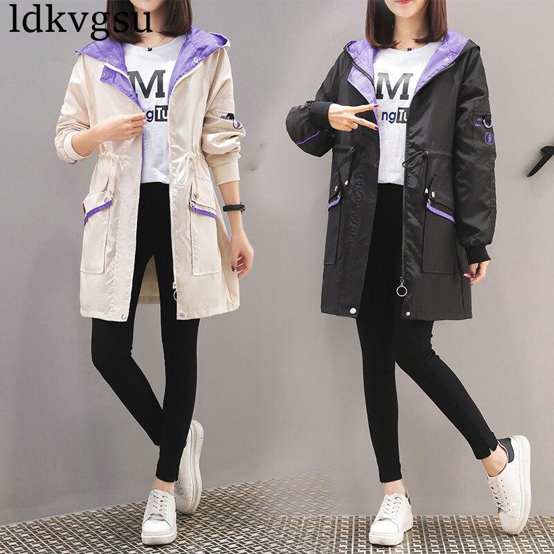 fashion Spring Autumn Women's Long   Trench   Coats 2019 Large Size bf Baseball Uniform Female Hooded Windbreaker Outerwear v556