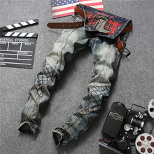 Men Retro Jeans Locomotive New Design Fashion Straight Trousers Masculina Skinny Denim Men's Rock Biker Patchwork Jeans Pants