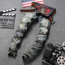 Men Retro Jeans Locomotive New Design Fashion Straight Trousers Masculina Skinny Denim Men's Rock Biker Patchwork Jeans Pants