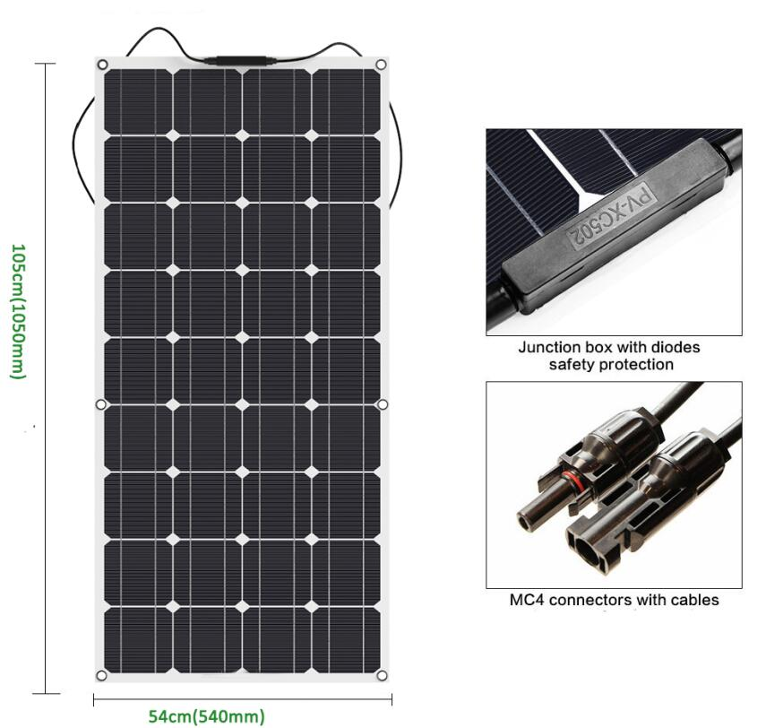 100W flexible solar panel 12V solar cell module system car marine boat battery charger LED Sunpower