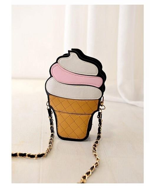 Cute Cartoon Women bag Ice Cream Cupcake Shape Mini Shoulder Bag Metal Chain Mobile Keys Coin crossbody Messenger Bag