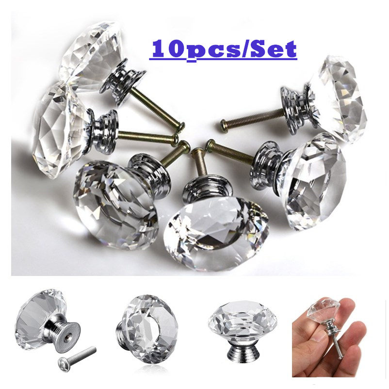 10PCS/Set Clear Crystal Glass Diamond Door Handles for Home Kitchen Cabinet Cupboard Drawer Pulls Wardrobe Knobs Hardware 30mm 10 pcs 30mm diamond shape crystal glass drawer cabinet knobs and pull handles kitchen door wardrobe hardware accessories