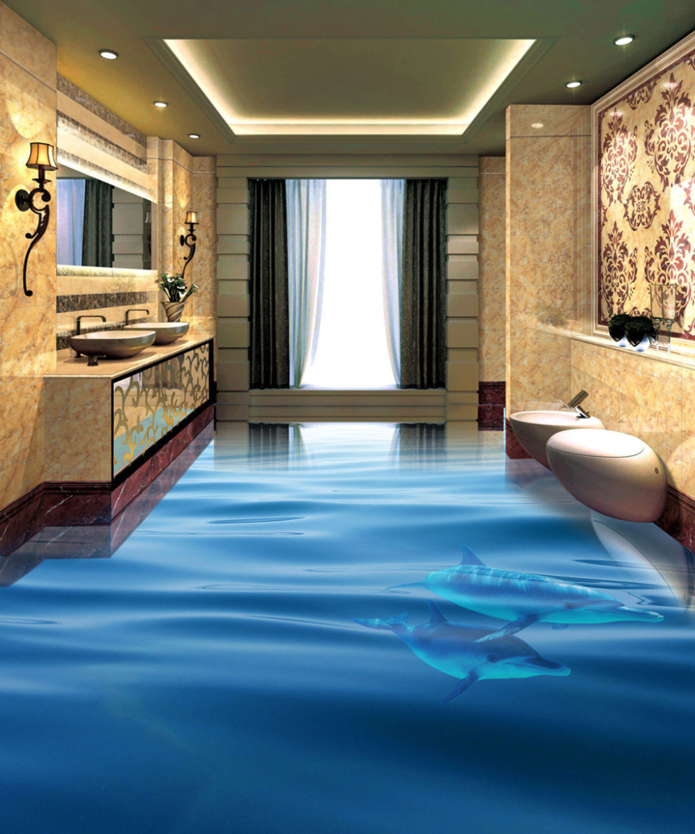 Ocean Dolphin Photo Wallpaper 3D Floor Tiles Painting Stickers ...