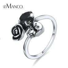 e-Manco 925 Sterling Silver Skull Rings Unisex Wedding&Engagement Elegent Rose Zircon Rings Fashion Jewelry(China)