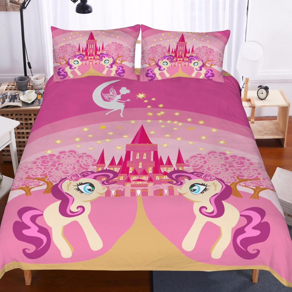 Castle princess unicorn Bedding set,kids/lovers/' gift Duvet cover set Home Textiles