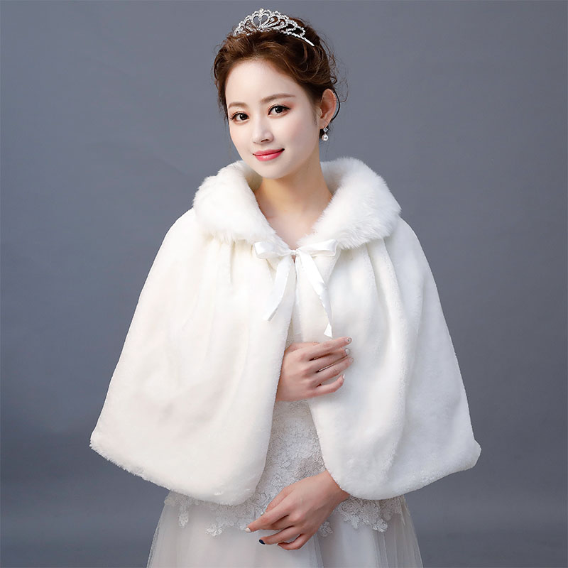 Cheap Winter Ivory Faux Fur Shawl Wrap Wedding Bridal Bridesmaid Wraps Warmer Women Shawl With Ribbon Cloak In Stock