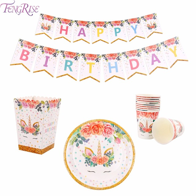 FENGRISE Unicorn Party Paper Plates Cups Napkins Birthday Party Disposable Tableware Sets Baby Shower Kids Event  sc 1 st  AliExpress.com & FENGRISE Unicorn Party Paper Plates Cups Napkins Birthday Party ...