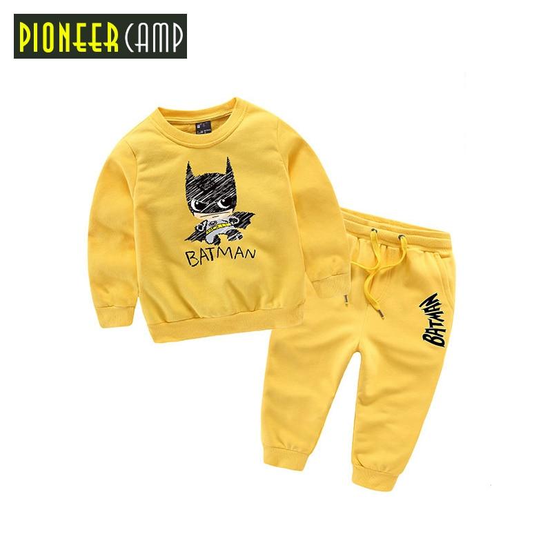 Pioneer Kids 2017 New 18M-10T Boy Clothes Set New Fashion Kids Boys Batman Clothes 2pcs Hoodie+Pants Girls Sport Suit