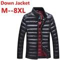 Aumentar o tamanho 7XL 8XL Outono Inverno Jaqueta de Pato Para Baixo, jaqueta de Luz Ultra Fino para homens casaco Fashion Outerwear entrega gratuita