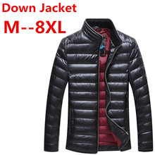 Increase the size 8XL 7XL Autumn Winter Duck Down Jacket, Ultra Light Thin jacket for men Fashion Outerwear coat free delivery