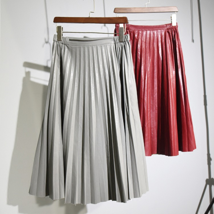 get cheap leather pleated skirt aliexpress