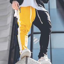 Хлопковые мужские Длинные цветные уличные Лоскутные молнии эластичные хип-хоп повседневные брюки-карандаш Спортивные штаны брюки для бега