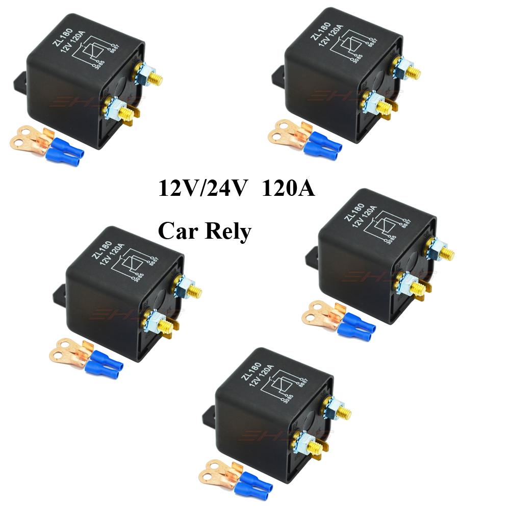 5pcs Waterproof Car Truck Motor Automotive 12v 24v 120a 4 Pin High Current Relay Continuous Type Relays In Cables Adapters Sockets